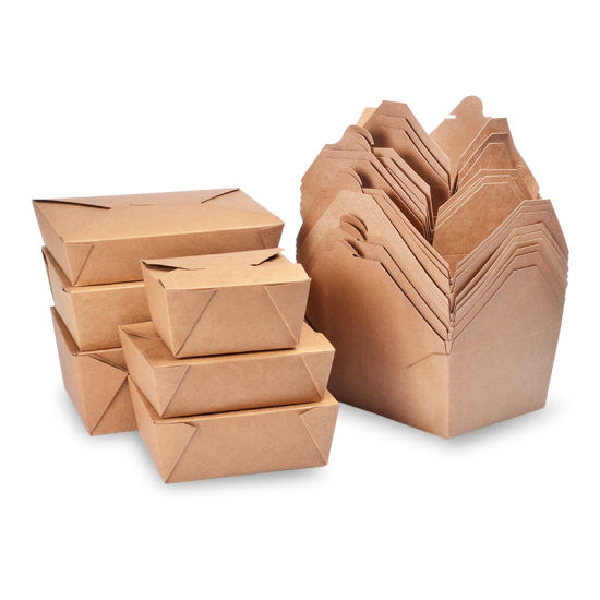 800ml 1000ml 1400ml 2000ml Disposable Kraft Carton Lunch Take out Paper Box for Hotel Food Packaging