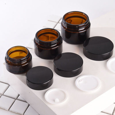 Glass Jars in Bulk Glitter Amber Brown Cosmetic Jar 20ml Small Cream Container with Plastic Lid for Cream Container Hair Lotion