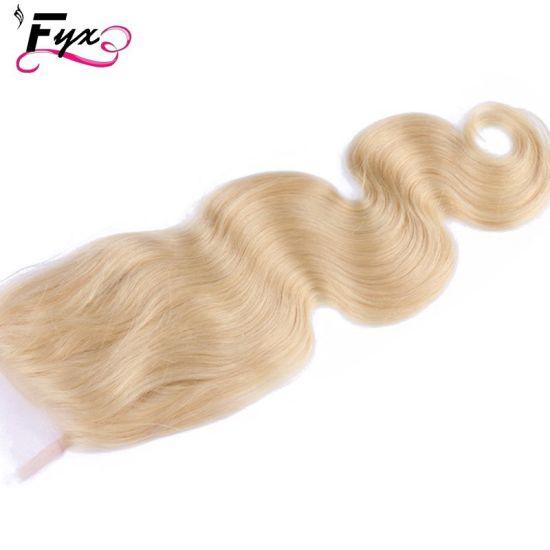 Wholesale Brazilian Human Hair Body Wave 613 Blonde Top Lace Closure
