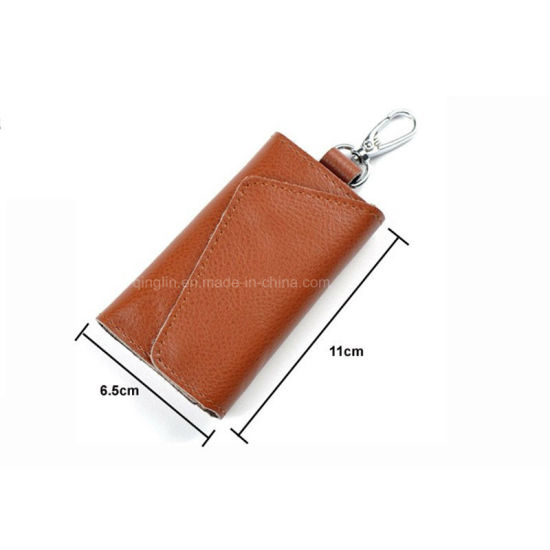 Portable PU Leather Key Case for Men′s Key Wallet pictures & photos