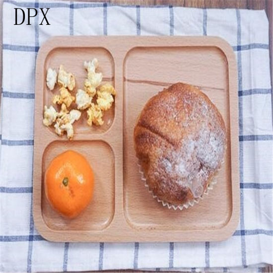 Kitchenare Tool Tableware Plate High Grade Wooden Fast Food Tray with Divider