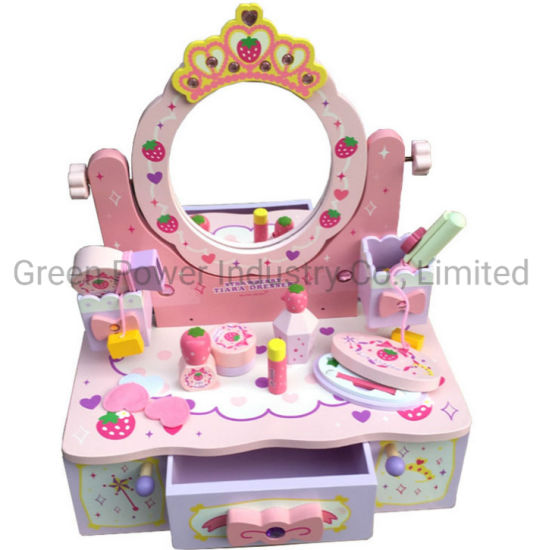 Hot Sale Girl's Wooden Simulated Crown Dresser Toys