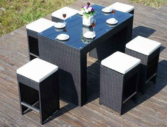 7 Pieces Outdoor Bar Chair Desk Set PE Rattan Furniture - China 7 Pieces Outdoor Bar Chair Desk Set PE Rattan Furniture