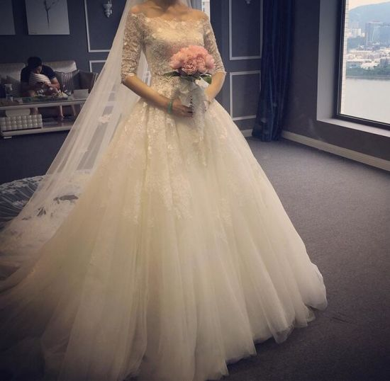 China Slim Half-Sleeves off Shoulder Lace Pattern A-Line Wedding ...