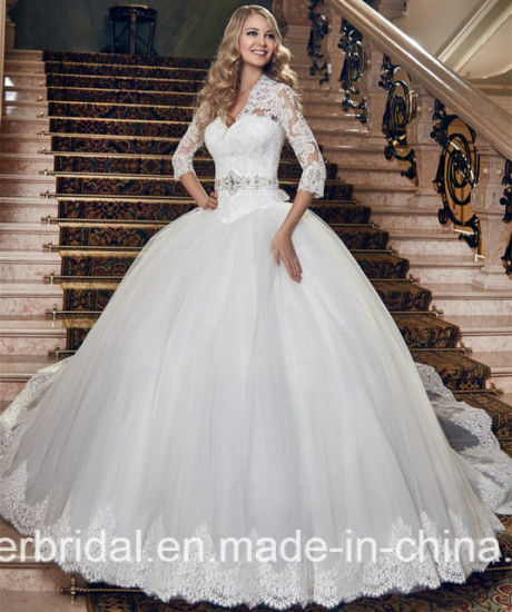 Long Sleeves Bridal Ball Gowns Lace Tulle Wedding Dress Dh20178 pictures & photos