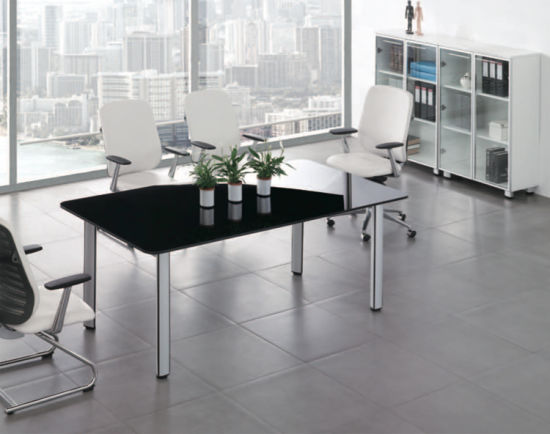China Modern Black Glass Conference Office Table With Steel Foot - Black glass conference table