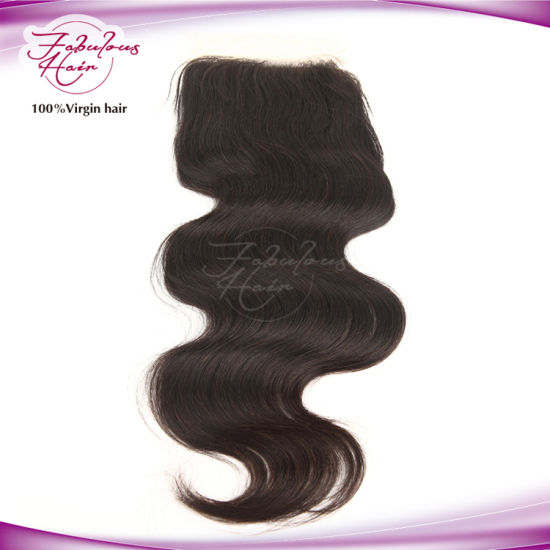 Wholesale Price Midpart Body Wave Brazilian Hair 4 X 4 Lace Closure pictures & photos