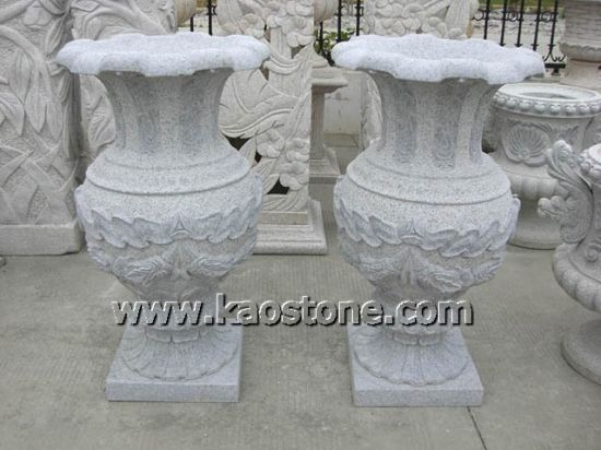 Popular Decorative Granite Vase Flower Planter Pots for Garden pictures & photos