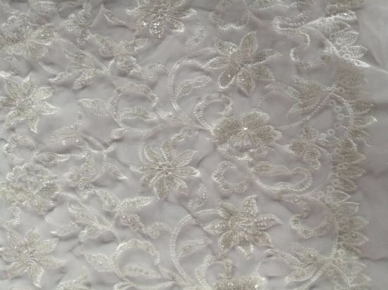 Sequins Voile Luxury Embroidery Fabric for Evening Bridal Wedding Dress pictures & photos