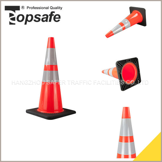 28inch Slim Body Black Base Interlock PVC Traffic Cone (S-1238S) pictures & photos