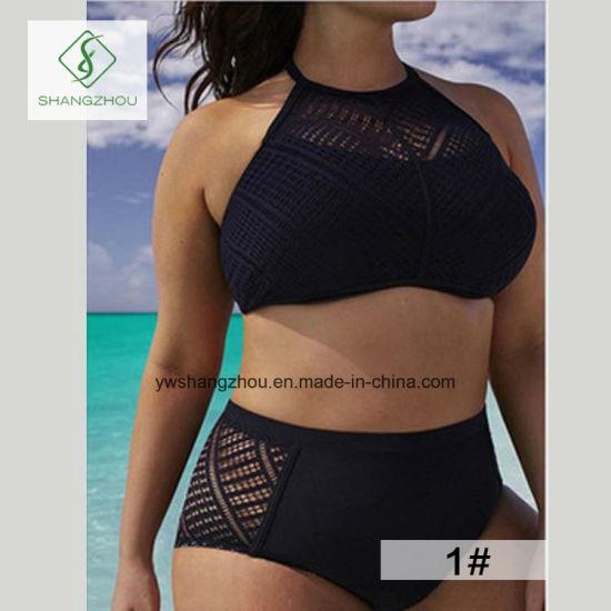 Plus Size Hollow High-Waisted Split Sling Plain Fashion Ladies Bikini