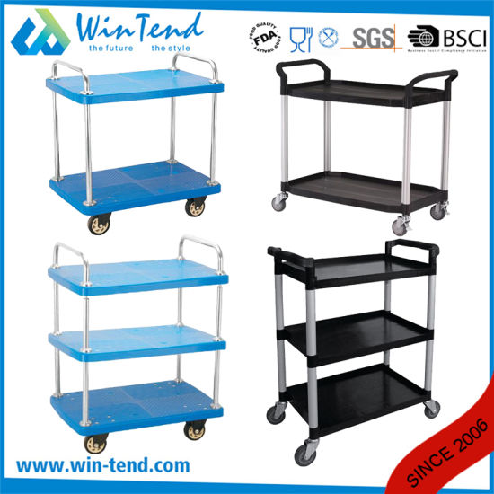 2 Tier All Color Collect cleaning Plastic Trolley Baskets Cart with Wheels pictures & photos