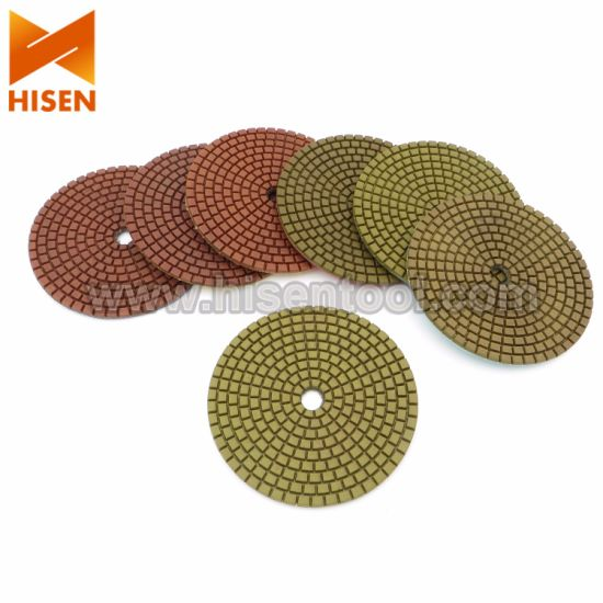 "Professional 100mm 4"" Metal Chip Diamond Wet Polishing Pads pictures & photos"