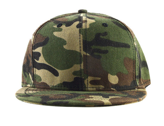 08f6df321b4 China Custom Camo Print Fabric Flat Brim Snapback 6 Panels Caps ...