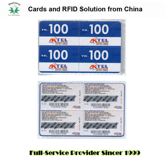 Thin Paper/PVC Telecom Card with Pin Code and Scratch-off Panel