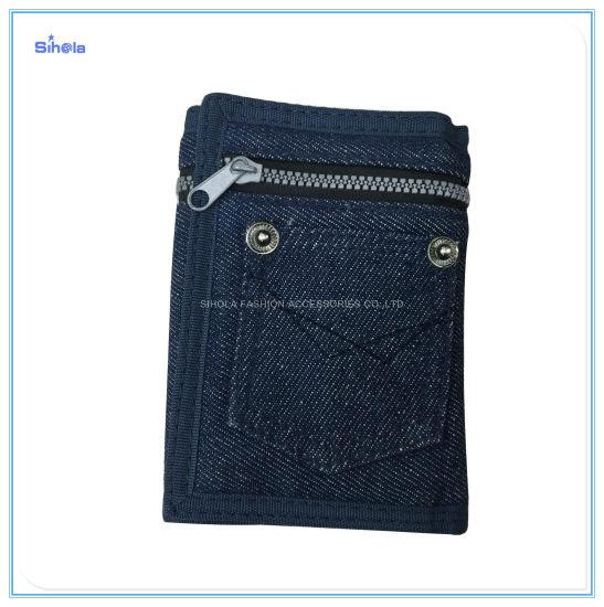 Denim Design Nylon Zipper Cowboy Cute Popular Sale Wallet
