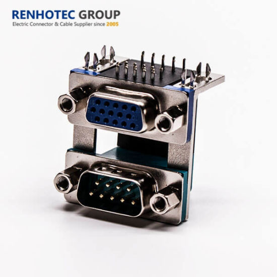 Elevated Dual Layer 15pin Female to 9pin Male D Sub Connector
