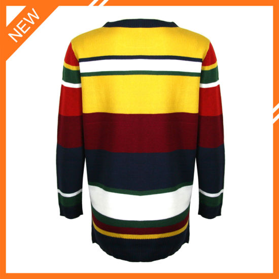 Women Fashion Round Neck Sweater Clothes with Patchwork Designs pictures & photos