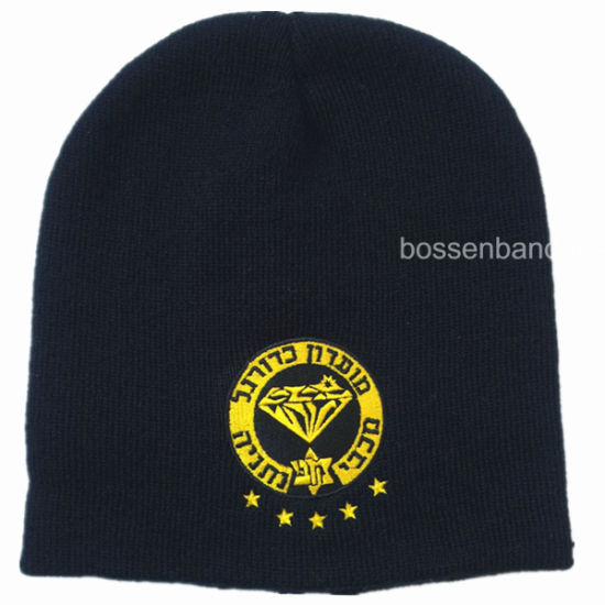 OEM Custom Logo Embroidered Acrylic Knitted Winter Sports Black Beanie Cap Hat pictures & photos