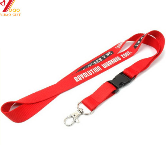 Custom Logo Printing Lanyard with Plastic Attachments Buckle Safety Clip OEM Safety Breakaway Buckle Lanyards Metal Band Lanyards