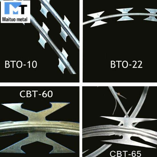 Galvanized Concertina Razor Wire/Barbed Razor Wire Bto-22 Cbt-60 Cbt-65