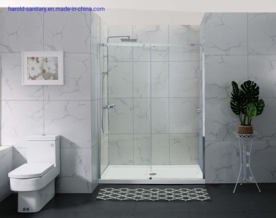 Single Slider Shower Door with Aluminum Header and Wall Profile