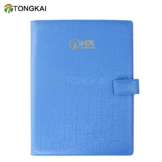 Stationery Office A4-Paper Organizer Blue Leather File Folder