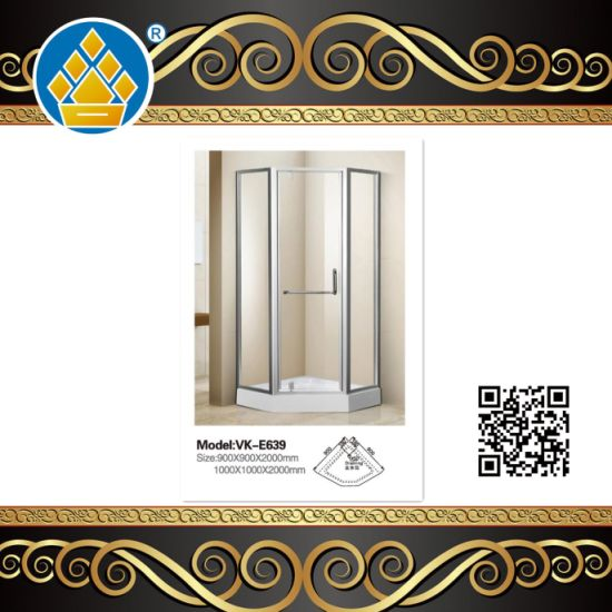 Modern Series Portable Frosted Glass Shower Enclosure Diamond Shape Shower Room/Shower Cabin with French Antique Brass Plate