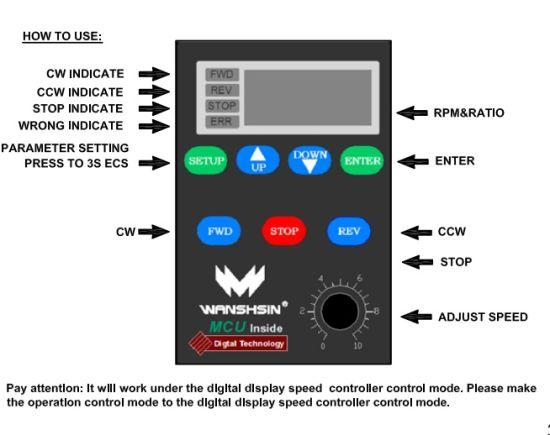 China AC Motor Single Phase 220V Panel Speed Governor