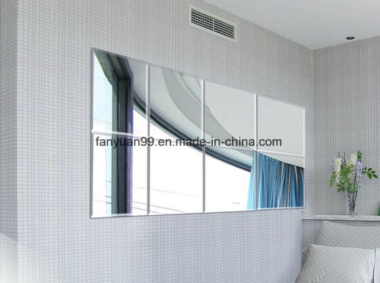 Hot Popular 3mm--6mm Silver Mirror Cut Size Polished Without Frame on Bathroom Wall