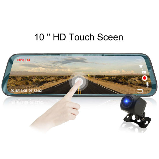 """Zimtop 2018 New 10"""" Touch Streaming Dual Lens Rearview Mirror Camera"""