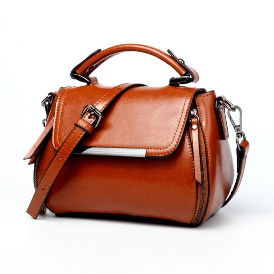 Fashion Retro Design Leather Shoulder Lady Handbag with Chain Strap