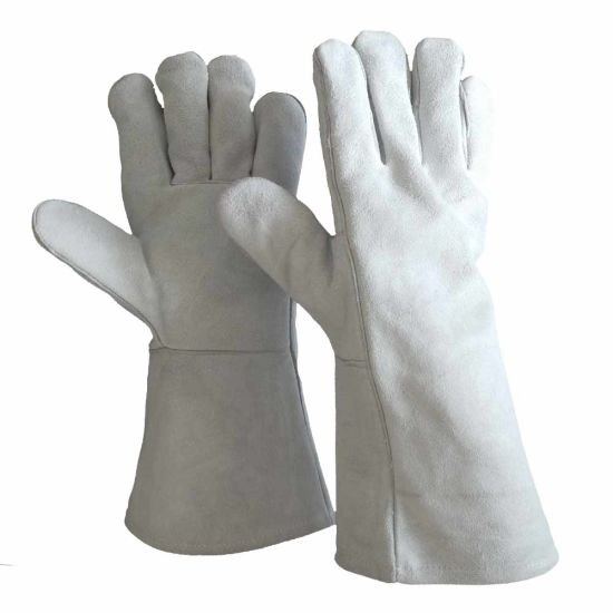 Wholesale Grey Cow Split Safety Heavy Duty Leather Work Welder Gloves