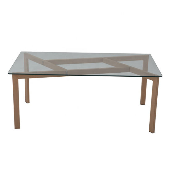 Modern Tempered Glass Face Metal Leg Dining Table