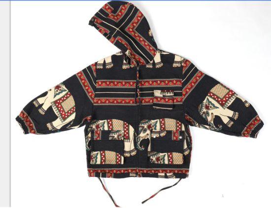 Fashion Woven Print Fabric Clothing Men's Hoodie Jackets