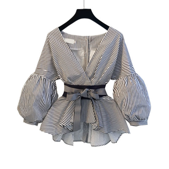 Lantern Sleeve Top Shirt Ladies Summer Bow Tie V-Neck Striped Shirt Suit Female Two-Piece Suit