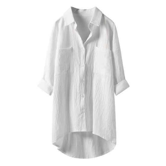 Xqm Women′ S Pure Color Shirt Linen Cardigan Shirt