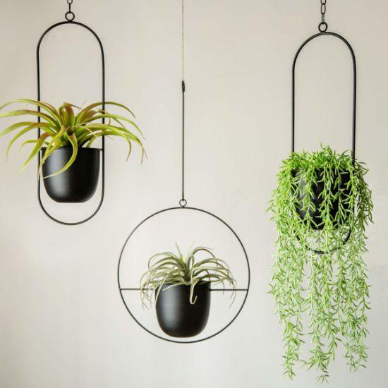 Black Flower Pot Holder Metal Modern Plant Hanger Hanging Planter for Indoor Outdoor Home