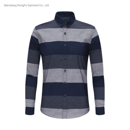 Fashion Stripe Plaid Design Shirt Men's Lapel Long Sleeve Shirt