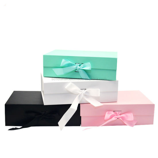Custom Luxury Foldable Cardboard Cosmetics Makeup Jewelry Clothes Magnetic Paper Gift Box for Wedding Party Festival Gift Packaging with Ribbon