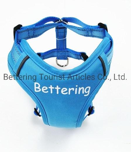 Blue Customized Logo Reflective Polyester Dog Harness