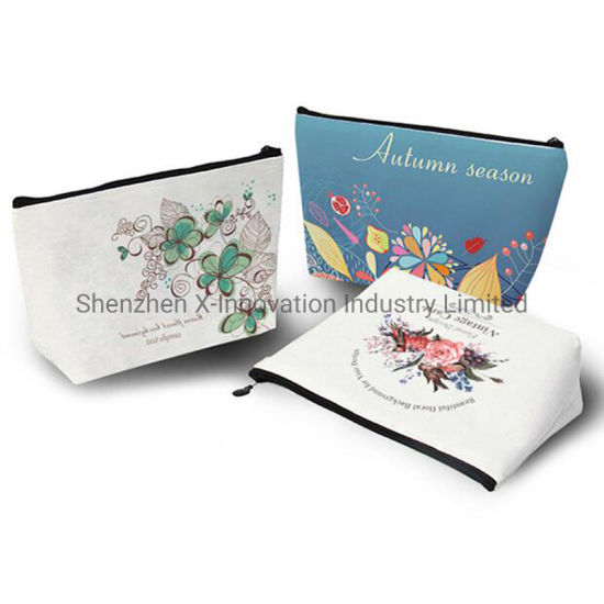 Wholesale Custom Logo Organic Cotton Canvas Cosmetic Bag with Zipper pictures & photos