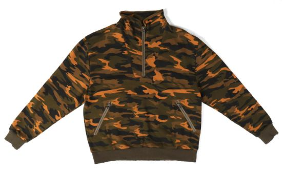 Allover Camo Print and Solid Fabric Zipper Pockets Men's Jackets