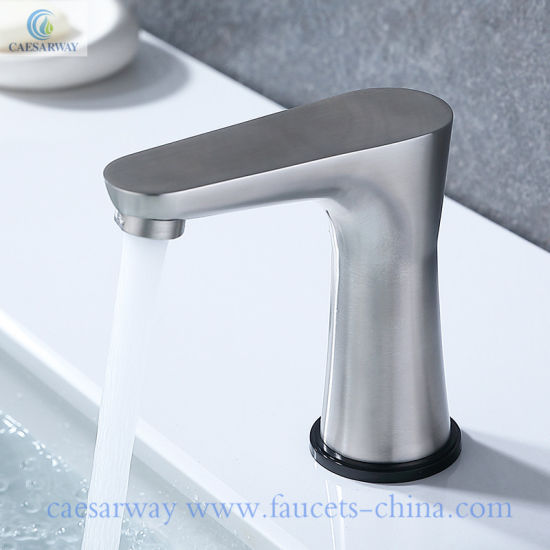 Deck Mounted Automatic Touch Sensor Faucet with Basin Soap Dispenser Mixer Tap pictures & photos