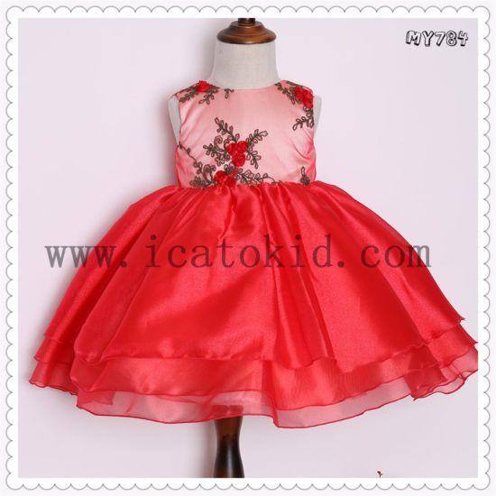 6b87ac9e4a39b Baby Frock Designs Red Flower Bodice Infant Children Dress Little Girls  Party Wear Western Dress My784. Get Latest Price