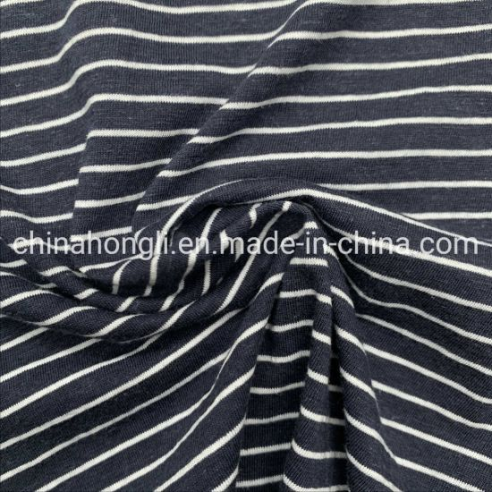 High Quality 70%Organic Cotton 30%Hemp Stripe Yarn Dye Single Jersey Knitting Fabric