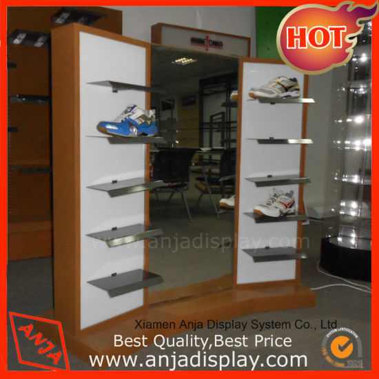 805741011f36 Custom Retail Store Floor Wooden Shoe Display Stands with Metal Holder
