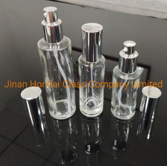 Upscale Clear Glass Refillable Cosmetic Pump Lotion Dispenser Bottle (100ML /3.4oz)