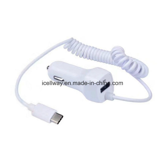 Wholesale Hot Sale 1 Port USB Car Charger with 1.5m Cable for Samsung for LG, 5V 2.1A Car Charger with LED