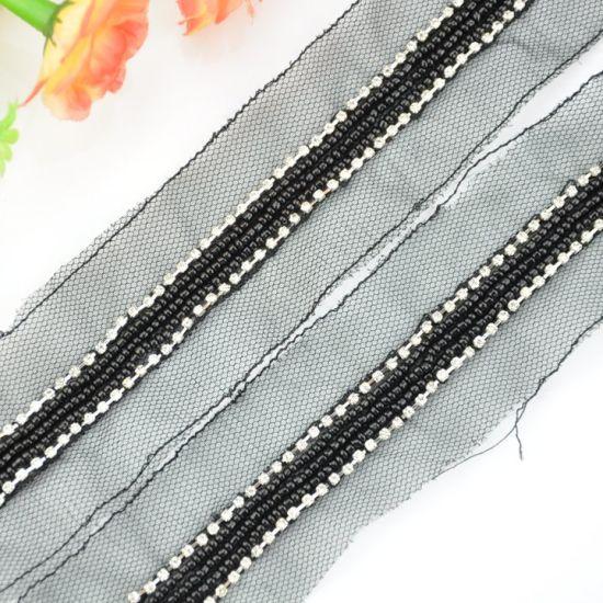 Classic Black Beaded Trim for Garments
